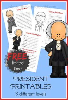 FREE presidents printables! A FUN way to learn about the presidents!