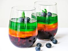 * 3 sugar-free jellos (red, yellow, and green)  * 1 cup blueberries  * 1/2 sliced mango  * lime zest