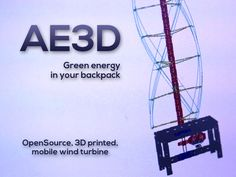 AirEnergy3D is a 3d printed wind turbine that you can setup on your balcony, roof or take it camping It can generate up to 300W of electrical power  It's small, it's durable, it's customizable and it' very cheap compared to existing wind based solutions and the cool thing is you can fit it in a backpack, move and assemble anywhere without using powertools!