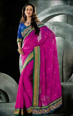 PINK & BLUE JACQUARD NET LATEST SAREE - VAL 5321