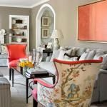 Colorful, Kid-Friendly Atlanta Home | Traditional Home. Love the accent fabrick on the back of the wing chair.