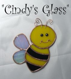 Stained Glass Honey Bee Suncatcher Ornament by CindysGlass on Etsy