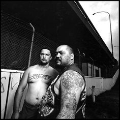 The Maori culture has a long tradition of tattooing, which dated back centuries until the Europeans outlawed it in the 1800s. These Auckland men belong to the anti-European Black Power Group. Their tattoos are a combination of traditional Maori tattoo art, called moko, and symbols picked up from the U.S. Black Power movement of the 1960s.  Picture by Chris Rainer