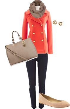 Peach and Beige Autumn Look.  love this coat