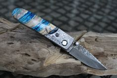 Mammoth Tooth Handmade Damascus Folder Pocket Knife, Custom File Work on Blade, Damascus Bolsters, Display box.