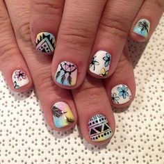 Tribal nails with dreamcatcher, flowers, dot, shape of triangles