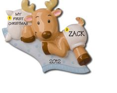 Personalized pillow baby pillow childs name pillow newborn personalized babys first christmas ornament baby reindeer boy girl newborn baby shower gift negle Image collections