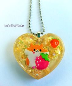 Strawberry Hamster Resin Necklace by LunaKittyDesigns on Etsy, $8.00