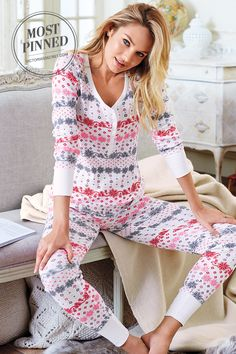 Snowed-in state of mind. | Victoria's Secret Fireside Long Jane Pajama