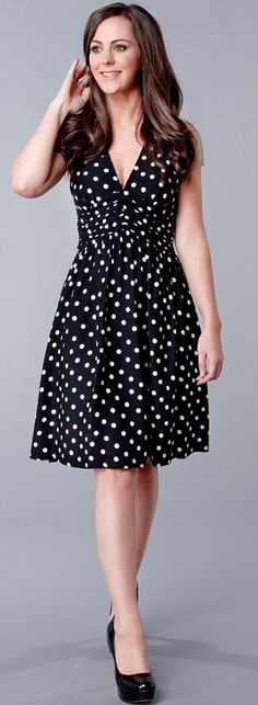 Polka dot dress from Zara--Think she's supposed to look like Kate here?  No matter, style is style.