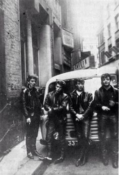 Early Beatles. The Cavern Pub, Liverpool ~ George, Pete Best, John, Paul ~ 1961