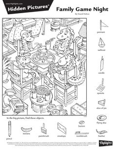 Hidden Object Puzzles, Hidden Picture Puzzles, Hidden Objects, Highlights Hidden Pictures, Hidden Pictures Printables, Art Books For Kids, Christmas Worksheets, Paper Games, Les Religions