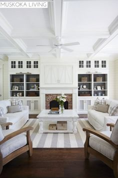 Gray painted backs of bookcases Muskoka Living | Room | Fireplace