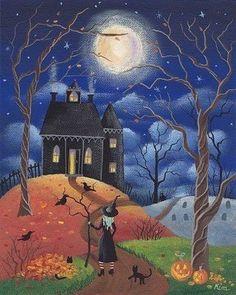 """hoodoothatvoodoo: """"Halloween Folk Art By Kims Cottage Art """" Retro Halloween, Spooky Halloween, Halloween Painting, Halloween Prints, Halloween Pictures, Holidays Halloween, Happy Halloween, Witch Painting, Halloween Drawings"""