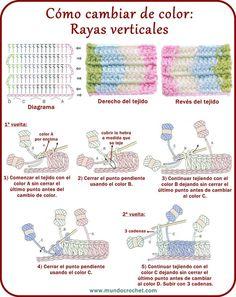 Cambio de color en crochet                                                                                                                                                                                 Más