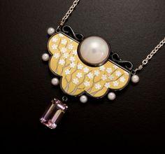 White blossom motif mabe pearl and ametrine silver Keum by KAZNESQ