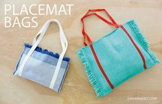 Tutorial: Placemat tote bags