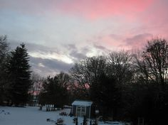 Sunset on last few days of five weeks of snow....beginning to melt 2017