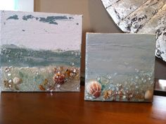 Mini painted canvas w/beach sand, shells and crushed glass. www.artshattered.com