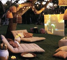Ideas Garden Seating Ideas Backyard Fire Pits Cushions For 2019 Backyard Movie Nights, Outdoor Movie Nights, Backyard Movie Party, Backyard Patio, Backyard Landscaping, Backyard Ideas, Backyard Furniture, Backyard Designs, Backyard Camping