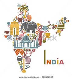Traditional symbols in the form of a map of India - stock vector