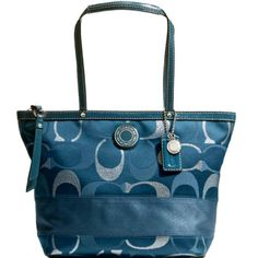 Amazon.com: New Authentic COACH 3 Color Metallic Teal Signature Stripe Tote Bag 20429 w/COACH Receipt: Clothing,fashion coach bags coming,just $44.99