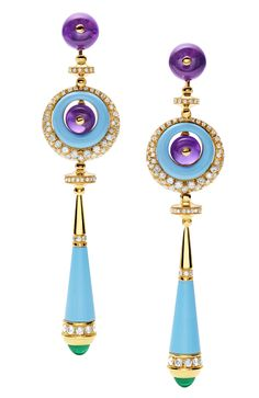 Earrings Cocktail Bulgari yellow gold, turquoise, amethyst, emeralds and diamonds.