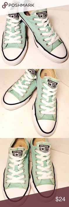 Converse all star sneakers, size 7 These seafoam green converse are such an amazing color and would bring any outfit to life. Authentic converse all stars bring that high quality fashion to any sneakers. Canvas upper, metal eyelets, front rubber bumper and rubber outsole. EUC Converse Shoes Sneakers