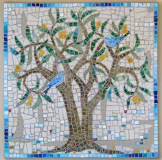 Tree with bluebirds mosaic by thenatureofmosaica.com, via Flickr