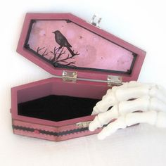 Coffin Box Halloween Raven Decoration Halloween Decor by rrizzart, $32.00 Card box painted red