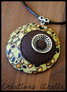 Airelle S uploaded this image to & See the album on Photobucket. Polymer Clay Bracelet, Polymer Clay Pendant, Polymer Clay Art, Polymer Clay Projects, Diy Clay, Enamel Jewelry, Jewellery, Mom Jewelry, Bijoux Diy