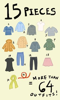A few high quality essentials can go a long way to help you live in style and comfort. Mixing and matching these 15 pieces can create more than 64 unique outfits. Take a survey and create your very own capsule closet with Uniqlo! 1. Striped shirt 2. Oxford shirt 3. Flannel 4. White tee 5. Sweater 6. Military parka 7. Trench coat 8. Blazer 9. Quilted parka 10. LBD 11. Jeans 12. Black slacks 13. Skirt 14. Scarf 15. Belt
