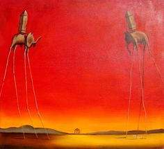 Elephants - Salvador Dali Reproduction - Hand Painted Oil on Canvas Hand Painted, Oil On Canvas, Canvas, Painting, Art