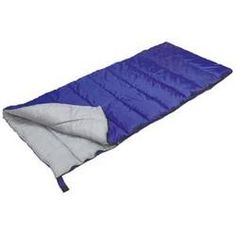 """Explorer Rectangular Sleeping bag is great bag for summer or desert camping, 4.0 lbs of Poly-Therm synthetic insulation, Polyester shell and lining, Stuff bag included, Royal Blue color, Dimensions: 33 x 75"""". Click to Purchase."""