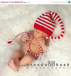 54a0466cf5c Items similar to Newborn Baby Christmas Hat KNiT BaBY PHOTO PROP Long  Stocking Cap UNiSeX Red White Stripe PiXIE BeANiE Pick CoLOR Munchkin Hat  CoMiNG HoME ...