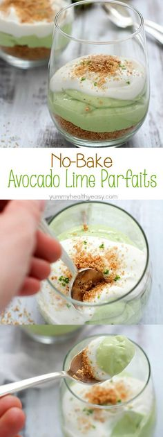When life gives you avocados, make a parfait! Creamy, delicious No-Bake Avocado Lime Parfaits. With a layer of cinnamon graham crumbles, a rich layer of avocado and lime and a creamy yogurt topping plus some lime zest thrown on top - heaven!