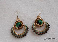 Beaded Silver Earrings Swarovski Emerald  - MichaelaBijoux   Crafty