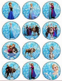 Frozen Edible Image cupcake toppers made from wafer paper. Perfect for a frozen birthday party. Disney Frozen Cupcakes, Frozen Cupcake Toppers, Olaf Frozen, Frozen Cake Topper, Disney Frozen Birthday, Frozen Birthday Party, Frozen Party, Elsa Birthday, Bottle Cap Images