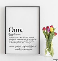 Gift idea for grandma Geschenkidee für Oma Gift Diy Gifts For Grandma, Diy Baby Gifts, Diy Gifts For Friends, Easy Diy Gifts, Diy Crafts For Gifts, Diy Gifts For Boyfriend, Cute Gifs, Decoration Table, Diy Birthday