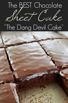 The BEST chocolate Texas sheet cake recipe that's as velvety tender as petit fours and so sinfully addictive youll call it the devil! The post The Best Chocolate Sheet Cake appeared first on Win Dessert. Sheet Cake Recipes, Cookie Recipes, Dessert Recipes, Recipe Sheet, Quick Dessert, Recipe Recipe, Sin Cake Recipe, Large Sheet Cake Recipe, Original Texas Sheet Cake Recipe