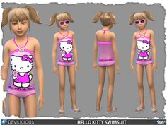 The Sims Resource: Hello Kitty Swimsuit by Devilicious � Sims 4 Downloads