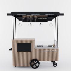 From Dastan Yarenov from Behance Food Stall Design, Food Cart Design, Food Truck Design, Mini Cafe, Smoothie Shop, Ice Cream Cart, Kiosk Design, Coffee Carts, Café Bar