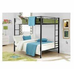 Full Over Full Metal Bunk Bed Black Kids Bedroom Furniture Double Bunk Bedroom