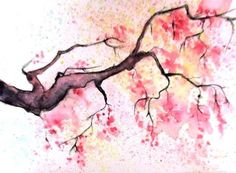 aceo original miniature art card tree abstract flowers cherry blossom sign #Abstract