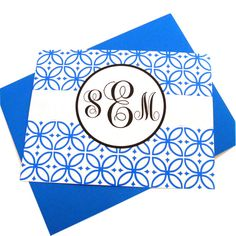 12 Custom Monogrammed Stationary 55 x 425  Blue  by YellowHype, $16.00