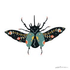 Folk Art by Cagla Zimmermann by CaglaZimmermann Animal Sketches, Art Sketches, Art Drawings, Folk Art Flowers, Flower Art, Illustrations, Illustration Art, Posca Art, Insect Art