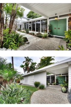 midcentury mid century modern white home exterior high tall front door doors…