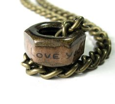 Gifts For Guys Men Dudes Him, Mens Accessories, Steampunk Antiqued Brass Industrial Chic Hex Nut Necklace, Masculine Gift, A Touch of Humor