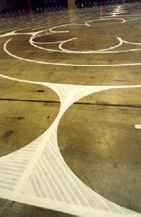 Masking tape labyrinth directions