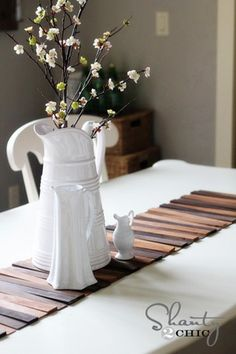 Wood Shim Table Runner / Along with 11 other DIY table runners! - @melsmith37 could display some of her milk glass